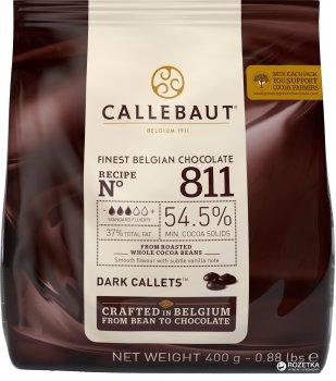 Шоколад Callebaut №811 бельгійський чорний у формі калет 400 г (5410522556605)