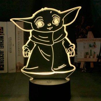 Настільний світильник-нічник Маленький Йоду 3D MOON LAMP Little Yoda 16 Кольорів Мандалорец (7297)