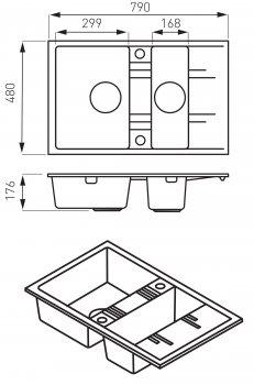 Кухонна мийка FERRO MEZZO II DRGM3/48/79BA двокамерна