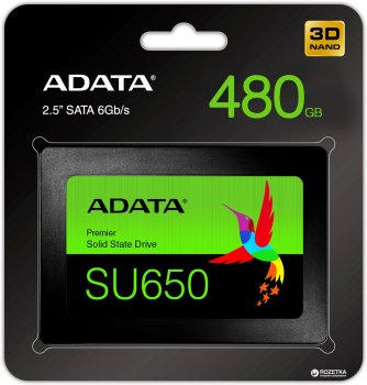 "ADATA Ultimate SU650 480GB 2.5"" SATA III 3D NAND TLC (ASU650SS-480GT-R)"