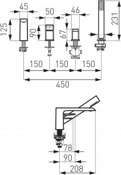 Смеситель для ванны FERRO Adore White BDR11A
