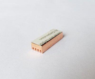 Теплоотводный медный радиатор PcCooler 22 мм х 8 мм х 5 мм золотой MC200