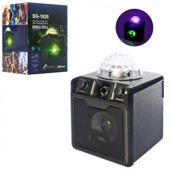 Колонка зі світломузикою диско-куля Metr+ SG-1626 (флешки, bluetooth, MP3, TF, USB (5 кольорів) UFO Crystal Magic Ball