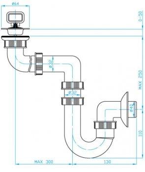 Сифон для раковины PLAST BRNO колбовый 32/40 мм с боковым смещением (EU40340)