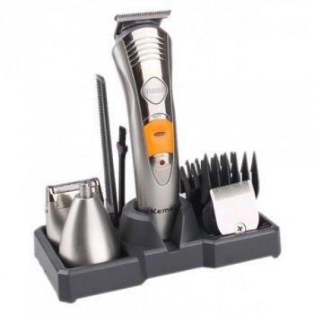 Набор для стрижки волос 7 в 1 Kemei KM-580A Rech Silver 3 Вт аккумуляторная машинка бритва и триммер в одном моющиеся насадки + подставка (44264 )