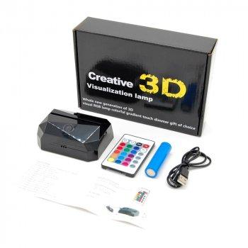 3D світильник з пультом і акумулятором 3D Lamp Олень (LP-17976)