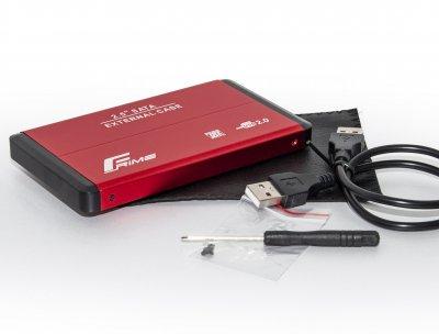 """Внешний карман Frime SATA HDD/SSD 2.5"""", USB 2.0, Metal, Red (FHE23.25U20)"""