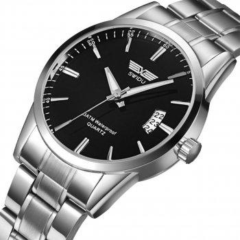 Наручные часы SWIDU SWI-021 Silver + Black для мужчин с кварцевым механизмом влагозащищенный корпус