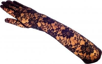 Перчатки гипюровые длинные Seta Decor 8-178BLK Черные (2000027078011)