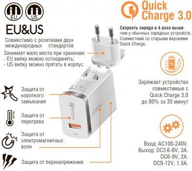 Сетевое зарядное устройство Intaleo TCQ431 3 A (1283126481123)