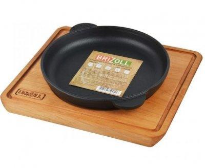 Сковорода Brizoll Хорека порційна з дошкою h 2,5 см чавун (Н25-Д)