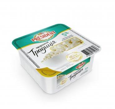 Сир кисломолочний ПРЕЗИДЕНТ 5 % Творожна Традиція 350г