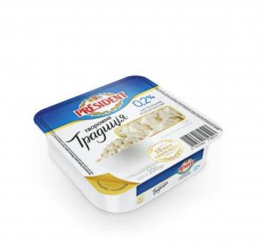 Сир кисломолочний ПРЕЗИДЕНТ 0,2% Творожна Традиція 200г