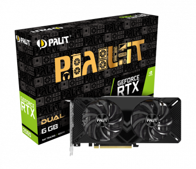 Відеокарта Palit GeForce RTX 2060 Dual 6Gb DDR6 192-bit DVI/HDMI/DP 1680/14000 MHz 8-pin (NE62060018J9-1160A)