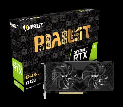 Відеокарта Palit GeForce RTX 2060 Dual 6Gb DDR6 192-bit DVI/HDMI/DP 1680/14000 MHz 8-pin (NE62060018J9-1160A)
