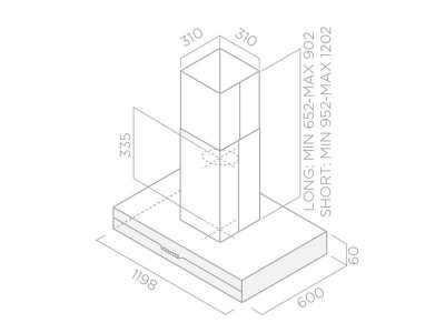 Вытяжка Elica METEORITE ISLAND IX/A/60x120 Нержавеющая сталь, черное стекло