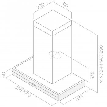 Вытяжка Elica METEORITE IX/A/120 Нержавеющая сталь, черное стекло