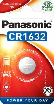 Батарейка Panasonic литиевая CR1632 блистер, 1 шт (CR-1632EL/1B)