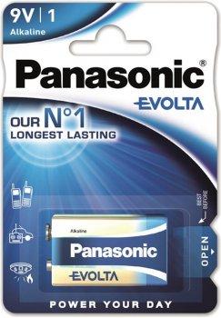 Батарейка Panasonic Evolta щелочная 6LR61 (6LF22, MN1604, MX1604) блистер, 1 шт (6LR61EGE/1BP)