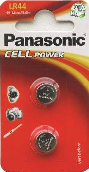 Батарейки Panasonic щелочные LR44 (A76, AG13, G13A, PX76, GP76A, RW82) блистер, 2 шт (LR-44EL/2B)