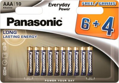 Батарейки Panasonic Everyday Power щелочные AAА блистер, 10 шт (LR03REE/10B4F)