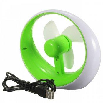 Настільний вентилятор USB батарейки DR-2013 Green