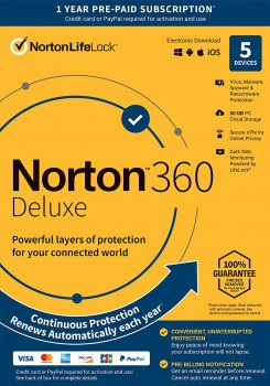 Антивірус Norton 360 Deluxe 50GB для 5 ПК на 1 рік ESD електронний ключ у конверті (21409553)