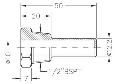 Заглибна латунна гільза для датчика температури 1/2, 10х12,2мм, L=50мм, один зонд