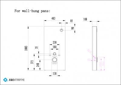 Стеклянная инсталляция для подвесных унитазов Ege Vitrifiye Black EVB3292