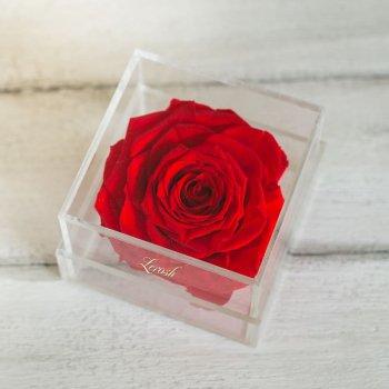 Стабилизированный бутон роза в коробке Lerosh - Lux, Красный