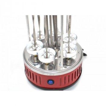 Электрошашлычница вертикальна Domotec BBQ MS-7783 Шашличниця на 6 шампурів з нержавіючої сталі 1000 Вт Червоний