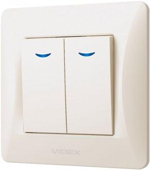 2-клавішний вимикач VIDEX Binera з підсвіткою Кремовий (VF-BNSW2L-CR)