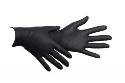 Одноразові рукавички нітрилові Медіком 100 шт в упаковці Розмір S Чорні