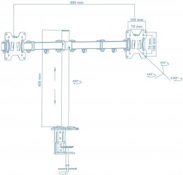 Настольное крепление для двух мониторов Walfix Black (DM-400B)