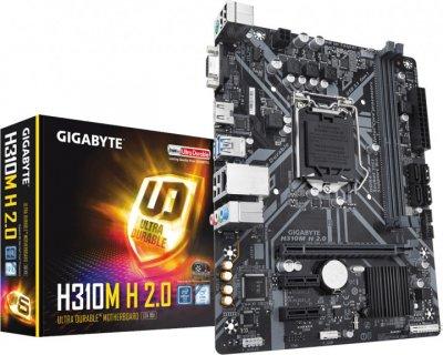 Мат. плата MB GigaByte H310M H 2.0 (iH310/s1151/2xDDR4 2666MHz/1xPCIe x16/2xPCIe x1/4xSATA3/Glan/2xUSB3.1/4xUSB2.0/D-Sub, HDMI/Audio 7.1ch/mATX)