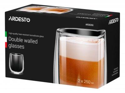 Набір чашок Ardesto 250 мл 2 шт. З подвійними стінками для лате Скло (AR2625G)