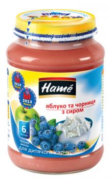 Пюре Hame яблуко і чорниця з сиром 190 г (23601081760101)