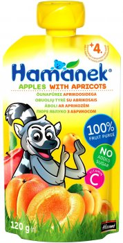 Пюре Hamanek Pouch яблуко з абрикосом 120 г (26520061757083)