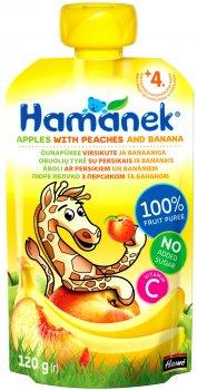 Пюре Hamanek Pouch яблуко з персиком і бананом 120 г (26520411757083)