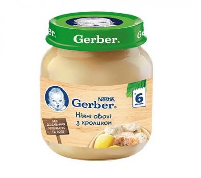 Пюре Gerber Ніжні овочі з кроликом 130 г (12333362)