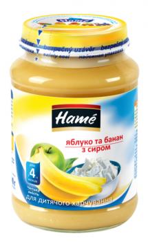 Пюре Hame Яблуко і банан з сіром 190 г (23601101708101)