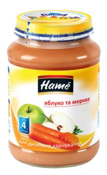 Фруктове пюре Hame яблуко і моркву 190 г (23600311760101)