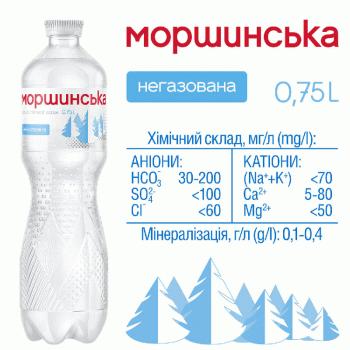 """Упаковка мінеральної природної столової негазовоної води """"Моршинська"""" 0,75 л х 12 пляшок"""