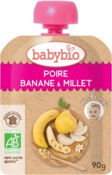 Упаковка дитячого пюре Babybio Органічного з груші, банана та пшона з 6 місяців 90 г х 4 шт. (3288137540195_3288131540191)
