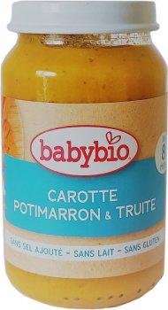 Упаковка дитячого пюре Babybio Органічного з моркви, китайського гарбуза та форелі з 12 місяців 200 г х 2 шт. (3288131510569)