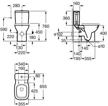 Унітаз-компакт ROCA Debba A34P998000 з бачком і сидінням Soft Close дюропласт