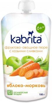 Упаковка фруктового пюре з козячими вершками Kabrita Яблучне пюре з морквою з 6 місяців 6 х 100 г (8716677007199)