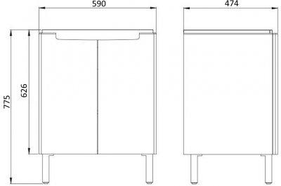 Тумба KOLO MODO (60) L39002 з умивальником білий глянець