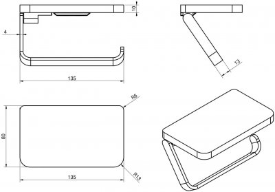 Держатель для туалетной бумаги VOLLE Teo 15-88-445 с полочкой хром