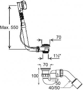 Сифон для ванны Ghidini DN40/50 мм с автопробкой (387C)
